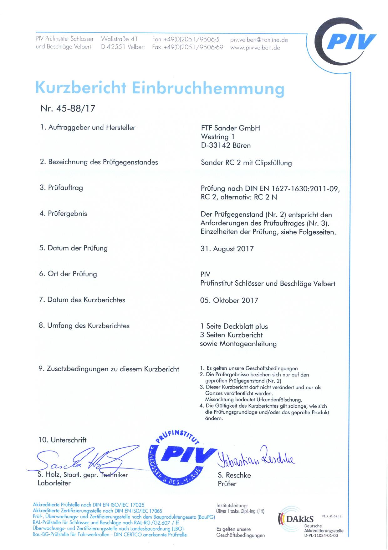 Sander Zertifikat